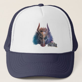 Black Panther | Tribal Mask Overlaid Art Trucker Hat