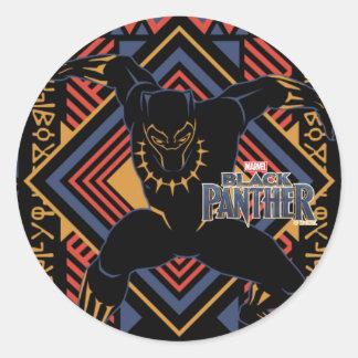 Black Panther | Wakandan Black Panther Panel Classic Round Sticker