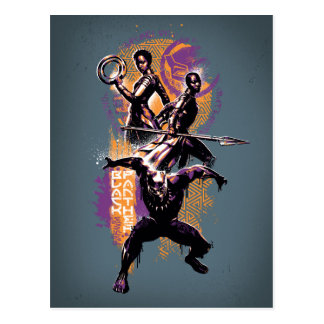 Black Panther | Wakandan Warriors Painted Graphic Postcard