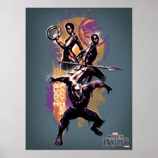 Black Panther | Wakandan Warriors Painted Graphic Poster