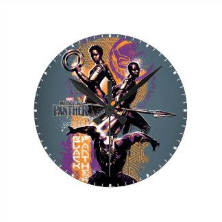 Black Panther | Wakandan Warriors Painted Graphic Round Clock