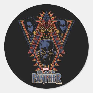 Black Panther | Wakandan Warriors Tribal Panel Classic Round Sticker