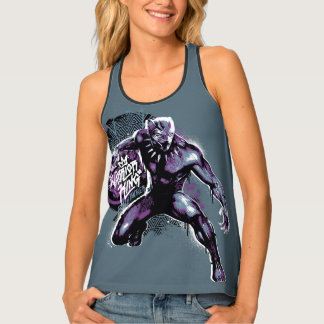 Black Panther   Warrior King Painted Graphic Tank Top