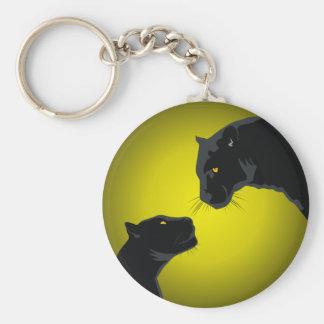 Black panthers basic round button key ring