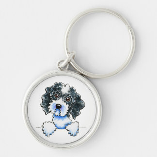 Black Parti Cockapoo Lined Up Silver-Colored Round Key Ring