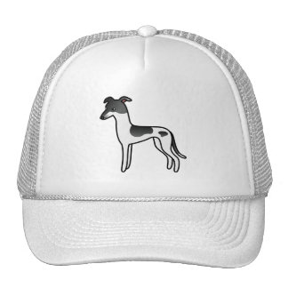Black Parti-Color Greyhound / Whippet Cap