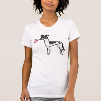 Black Parti-Color Greyhound Whippet Love Tee Shirt