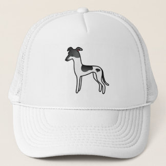 Black Parti-Color Greyhound / Whippet Trucker Hat
