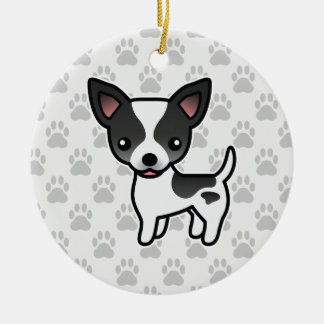 Black Parti Color Smooth Coat Chihuahua Dog Christmas Ornament
