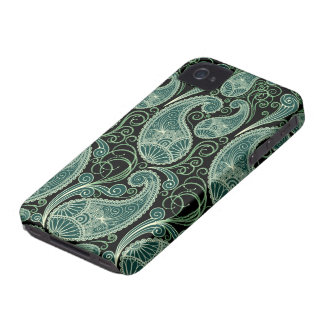 Black & Pastel Green Retro Orante Paisley Pattern iPhone 4 Cases