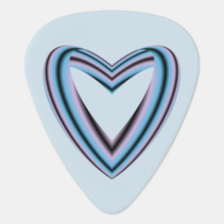 Black Pastel Pink and Blue Heart Plectrum