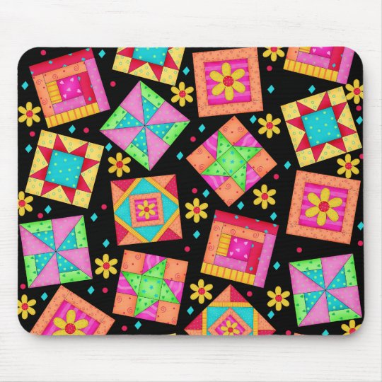 Black Patchwork Quilt Blocks Mousepad