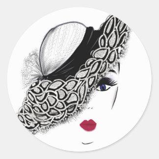 black pattern Hat Lady Classic Round Sticker