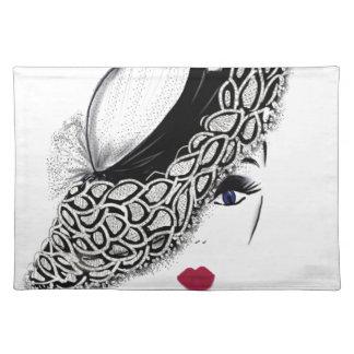 black pattern Hat Lady Placemat