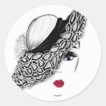 black pattern Hat Lady Round Sticker