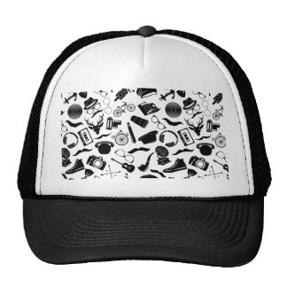 Black Pattern Hipster Cap