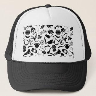 Black Pattern Hipster Trucker Hat