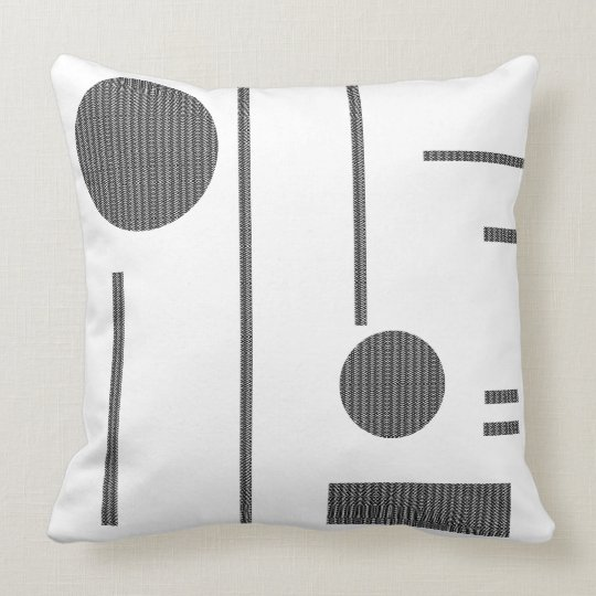 Black Pattern in Lines & Circles Pillow