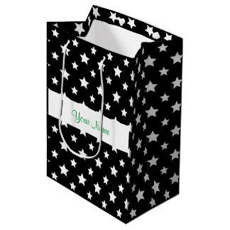 Black pattern with stars medium gift bag