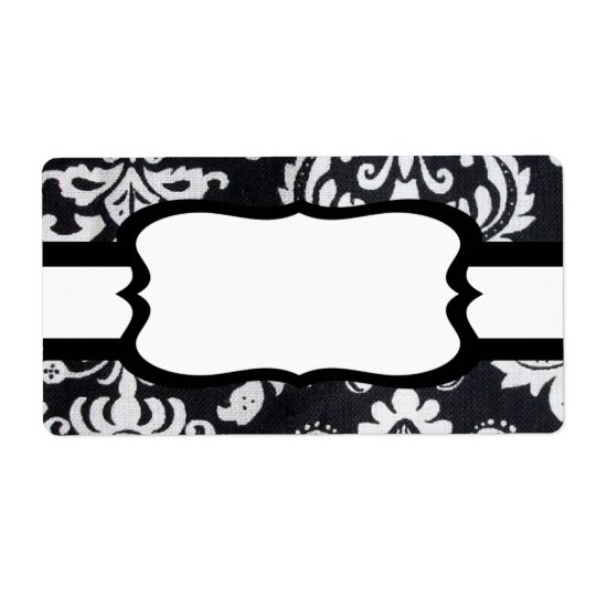 Black Pattern with white ribbon Label Shipping Label