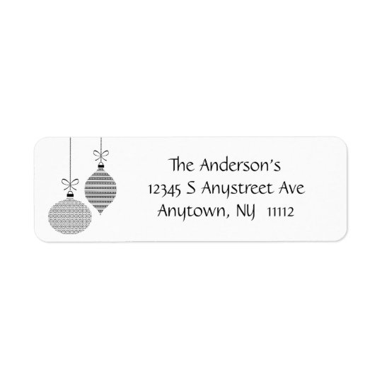Black Patterned Ornaments Return Address Label