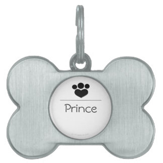 Black Paw Print Heart Personalized Pet Tag