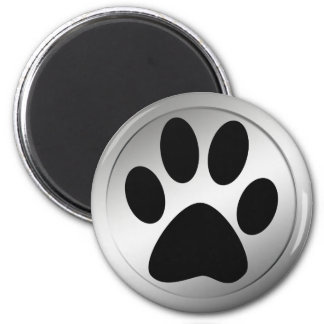 BLACK PAW PRINT IN SILVER FRAME 6 CM ROUND MAGNET