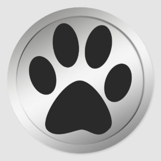 BLACK PAW PRINT IN SILVER FRAME ROUND STICKERS