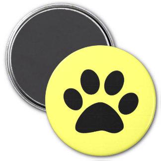 Black Paw Print on Yellow 7.5 Cm Round Magnet