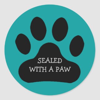 Black Paw Print Sealed With A Paw Customize Color Round Sticker