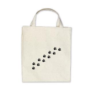 Black Paw Prints Canvas Bag