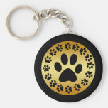 BLACK PAW PRINTS ON GOLD BASIC ROUND BUTTON KEY RING