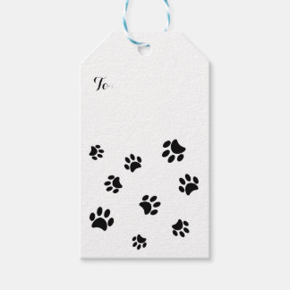 Black Paw Prints Pattern Gift Tags