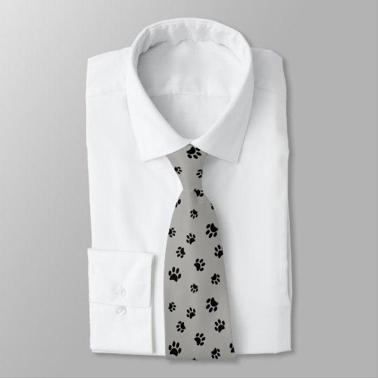 Black Paw Prints Pattern on Grey Background Tie
