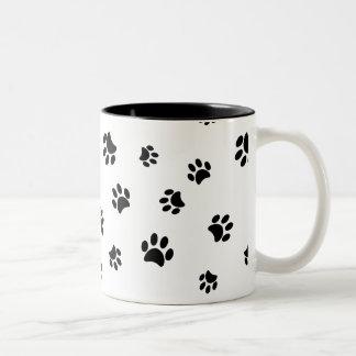 Black Paw Prints Pattern Two-Tone Coffee Mug