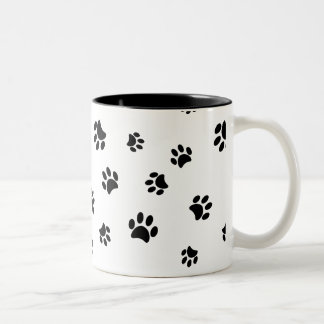 Black Paw Prints Pattern Two-Tone Mug