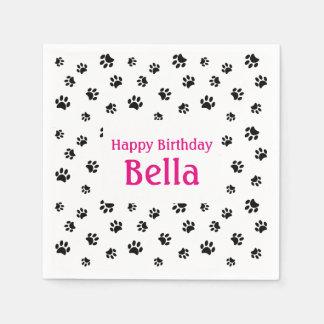 Black Paw Prints Pet Birthday Disposable Serviette