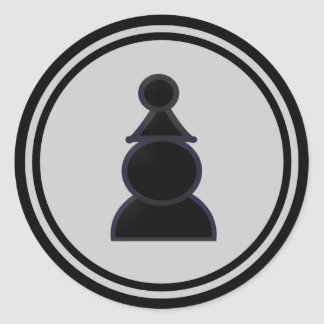 Black Pawn Chess Piece Round Sticker