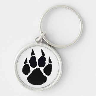 Black Pawprint Silver-Colored Round Key Ring