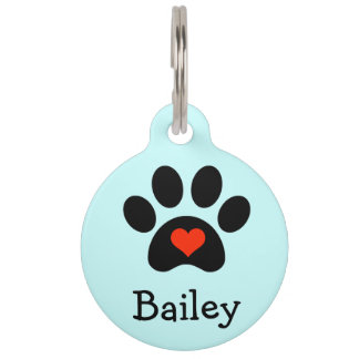 Black Pawprint with Red Heart Custom Pet ID Tags