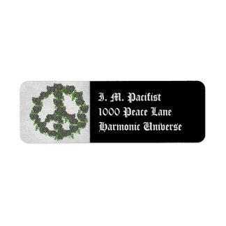 Black Peace Roses Return Address Label