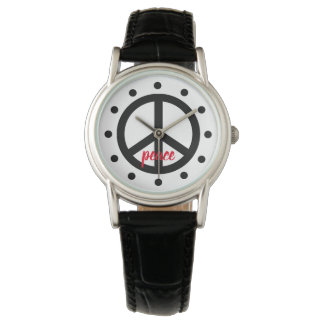 Black Peace Symbol Personalized Watch