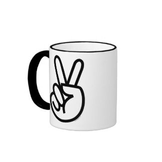 Black Peace V-Sign Coffee Mugs