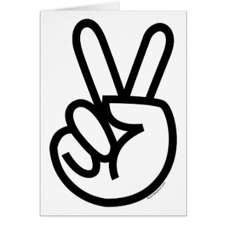 Black Peace V-Sign Greeting Card