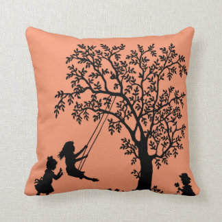 Black peach Abstract Tree kids playing pillow