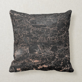 Black Peach Rose Gold Abstract Marble Glam Cushion