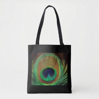 Black & Peacock Feather Design Tote Bag