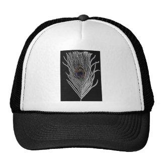 Black Peacock Feather Trucker Hats