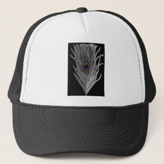 Black Peacock Feather Trucker Hat