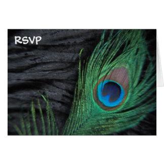Black Peacock Still Life Wedding RSVP Card